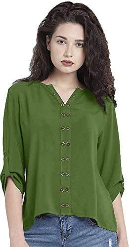 Leriya Fashion Women's Diamond Crepe Western Top (LF-w1092, Green, Large)