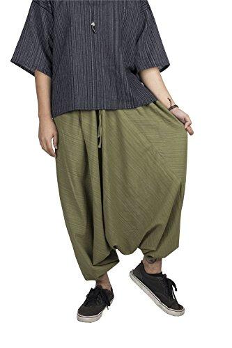Lofbaz Donna A strisce Cotone Far Cadere Forcella Coulisse Harem Pantaloni Tinta Unita Verde scuro