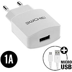 World Smartphones Pack Chargeur Secteur 1A avec Câble Micro USB pour HTC 7 Mozart
