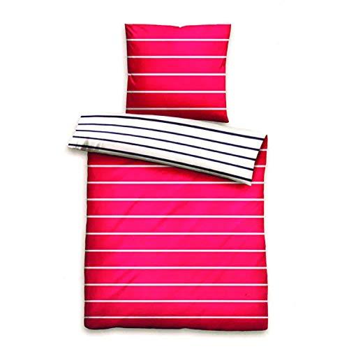 Leonado Vicenti Wende Bettwäsche 60894, Mako-Satin, modern gestreift, pink Weiss, 135x200 + 80x80 cm