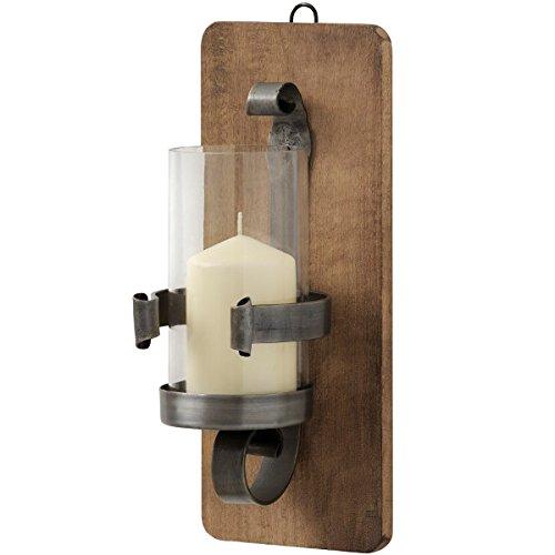 Wandleuchte, Holz und Schmiedeeisen, antikes Zinn-Design, Halterung für Hurricane-Glas, 34 cm -