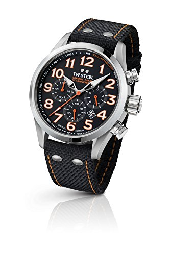 TW Steel Men's 'Dakar' Quartz Stainless Steel and Nylon Dress Watch, Color:Black (Model: TW963)