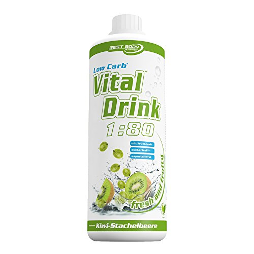 Best Body Nutrition - Low Carb Vital Drink, Kiwi-Stachelbeere, 1000 ml Flasche