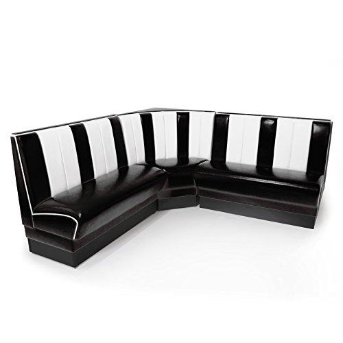 American Diner Eckbank schwarz Set Viber 2x Sitzbank 120cm + Eckbank retro