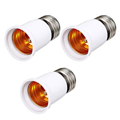 ZCHXD 3 Pcs E27 to E27 Adapter Chandelier Light Socket E27 to Medium Socket E27 Converter Bulb Base Adapter 65mm Length -