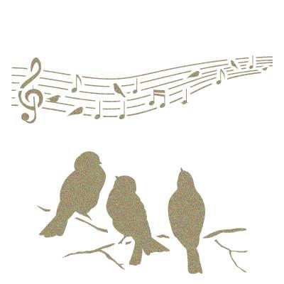 Stencil Mini Deco Vintage Figura 115 Pajaros Musica. Medidas aproximadas: Medida exterior del stencil: 12 x 12 cm Medida del diseño:9,8 x 8,2 cm
