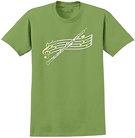 Oboe Curved Stave - Kiwi Vert T Shirt Taille 76cm 30in Sm 7-8 ans MusicaliTee