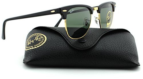 Ray-Ban RB3016 Clubmaster Arista Frame/Crystal Green Lens W0365, 49mm