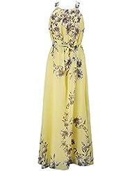 M¨¢s tama?o de la playa de Bohemia vestidos sin mangas de impresi¨®n floral vestido de gasa halter