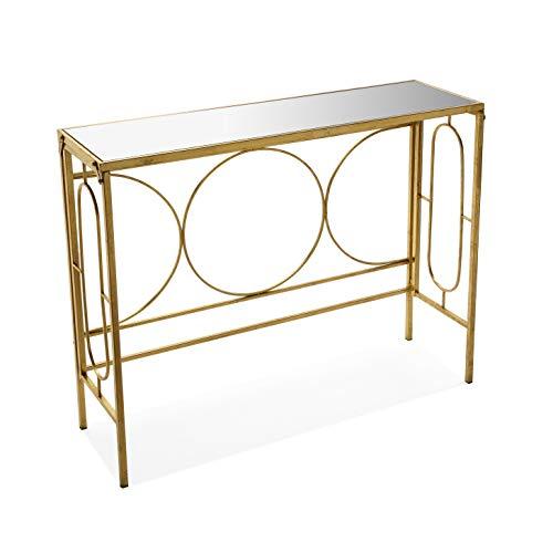 Versa 10850109 tavolo d'ingresso fabiann, metallo e vetro, oro, 81 x 30,5 x 102 cm