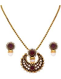 JFL - Rapturous Red Designer One Gram Gold Plated Pendant Set With Meenakari, Enamel With Polki, Austrian Diamonds...