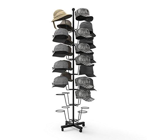 Homdox 7 Schicht 35-Hut-Kappe Anzeiger Hutständer Hutablage Verkaufsständer Mützenständer Rotierende Standfuß verstellbaren Ständer Metallständer Kleiderbügel Metallboden, Schwarz