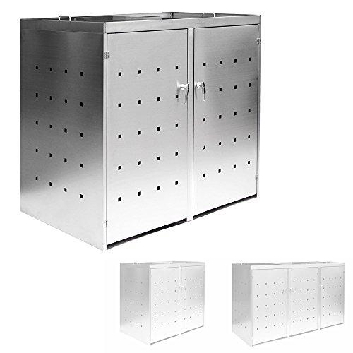 *2er/3er Mülltonnenbox Müllbox Mülltonnenverkleidung Edelstahl Schiebdach Abschließbar V2Aox, Ausführung:Für 2 Mülltonnen*