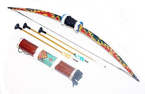 Bogenschießen Kinder Kostüm - Hejoka-Shop Kinder Indianer Pfeilbogen Set Bogen 75 cm.mit HOLZKÖCHER 35 cm. und Pfeile Gummispitzen funktionsfähig Fasching Verkleidung