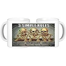 3 Simple Rules See Hear Say Nothing Novelty Ceramic Coffee Mug Plus Coaster