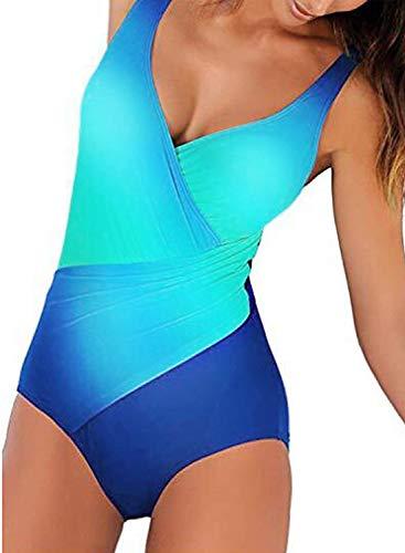 ni Bauchweg Schlankheits Badeanzug Plus Size Badebekleidung Bauchweg Tankini für Mollige Blau Elastizität XL ()