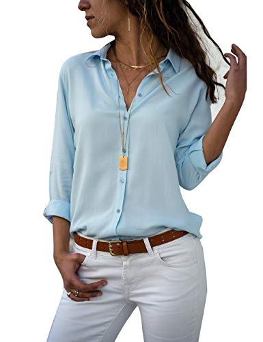 Yieune Chiffon Bluse Elegant Damen Langarmshirt V-Ausschnitt Casual Oberteile Hemd Lose Shirt (Hellblau S)
