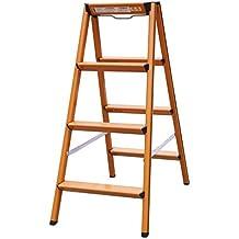 Escalera doméstica Escalera plegable de acero inoxidable antideslizante de 4 peldaños escalera de madera multiusos - Escalera de escalera plegable multiusos ( Color : 2 )