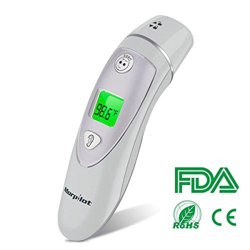 Baby Thermometer Stirnthermometer Ohrthermometer, Morpilot 2 in 1 Professioneller Fieberthermometer, mit Fieberwarnung Modus, Konvertierbar zwischen ℃ und ℉, CE/FDA Zertifiziert