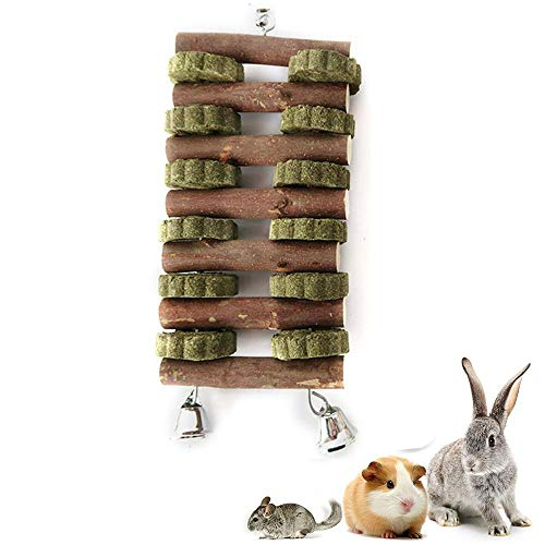 Volwco Kleines Tier Kauspielzeug Doppelreihe Apple Sticks und Gras Kuchen Haustier Essbare Backenzähne knirschen Spielzeug für Vögel Nagetiere Ratten Meerschweinchen Hamster Kaninchen -