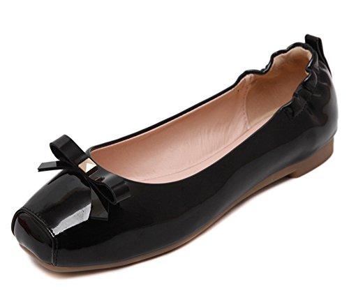 Aisun Femme Confortable Basse Plat Nœud Papillon Ballerines Noir