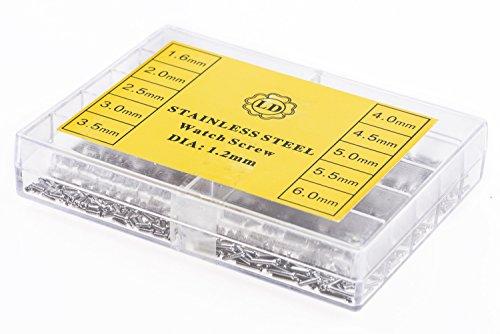 1,2mm-Schrauben im Set für Feinmechanik, Uhrmacher, Kamera, Foto mit 10 verschiedenen Längen von 1,6 bis 6,0 mm, insges. 200 Stück