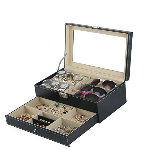 Cvbndfe Elegant Doppelter schwarzer PU-Uhr-Glas-Schmucksache-Kasten Multifunktions-Schmuck Aufbewahrungsbehälter
