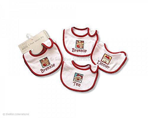Baby Weihnachten Klettverschluss Lätzchen X 6brekkie-dinner-tea ab 0m + (Tee Baby Weihnachten)