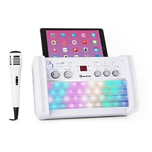 auna DiscoFever 2.0 Bluetooth-Karaokeanlage • Karaoke-Maschine • Karaoke-Set • CD-/CD+G-Player • Disco-LED • Halterung • inkl. Karaoke-CD+G und Handmikrofon • weiß - Rca-schalter