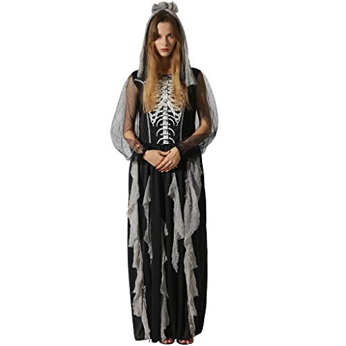 EraSooky Damen Skelett Zombie Braut Kostüme Halloween Cosplay Fancy Party Kleid mit Haarband (Skelett Kleid Kostüm)