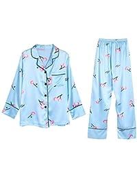 Lindas ropas de noche Simulación de pijama de seda, siete piezas, verano femenino,