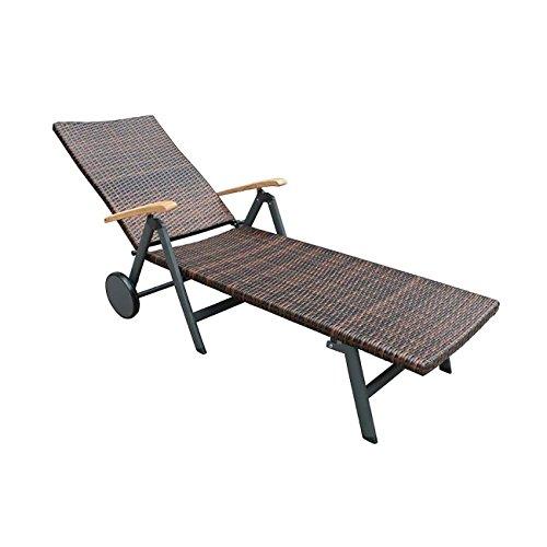 OUTLIV. Rollliege Garten Malaga Sonnenliege Poly-Rattan Geflecht Anthrazit/Braun Gartenliege rollbar Terrassenliege verstellbar Balkonliege