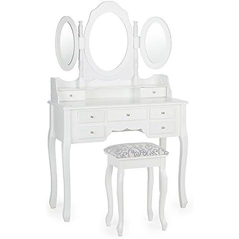 oneConcept Miss Charlotte tocador (2 espejos plegables y uno orientable, taburete acolchado, 7 cajones de distinto tamaño, detalles decorativos, diseño vintage) - blanco