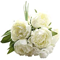 flores artificiales exterior Sanysis 1 ramo de flores de seda (Peonía, 01)