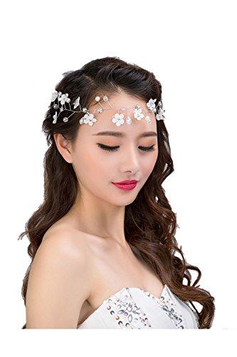 Vococal - Venda del Pelo Cinta para Cabeza Headwear Accesorios para Cabello para Señora de Mujer Fiesta de Boda de Novia Dama de Honor,Estilo de Flor Encaje de Diamantes de Imitación de Perlas Decorativas
