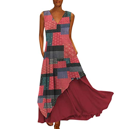Tohole Damen Strandkleider Türkischer Stil Boho Lose Tunika Lange Sommerkleider Shirt Strandhemd Kleid Urlaub Vintage unregelmäßiges Kleid(Wein,3XL) -