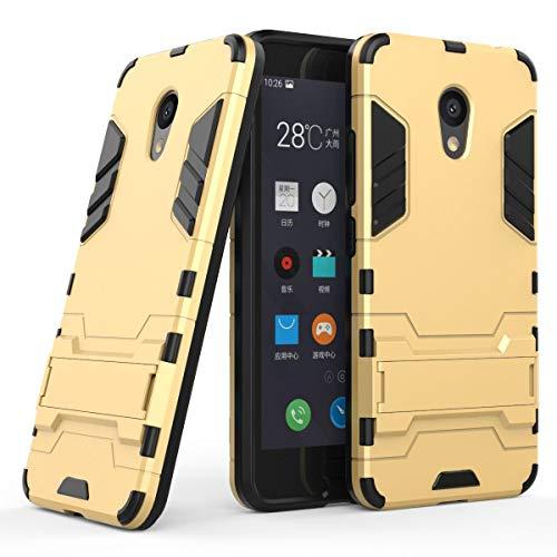 tinyue® Handyhülle für Meizu M5C, Hülle 2 in 1 Material Harte Schwer doppelte kratzfester Handyfall im Freienhandyfall Iron Man Rüstung mit Kickstand Case, Gold