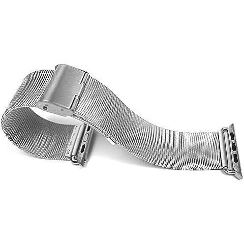 Contever® Inoxidable Malla Correa de reloj - Acero Banda de Reloj / Muñeca Pulsera Cinturón Para Apple Watch / Metal Watch Band Strap Replacement (38mm-Plata)
