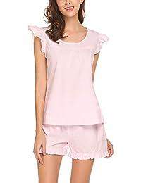 d523aa26e6ce85 Meaneor Fashion Origin Pyjama Damen Kurz Shorty Baumwolle Schlafanzug  Kurzarm Nachtwäsche Set Shirt   Shorts Sleepwear mit Ruffle