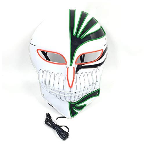 GRYY Leuchtende Maske Kaltlicht Maske EL Kaltlicht Halloween Maskerade Bar Party Cosplay Karneval Geschenk Festival,Fluorescence-Voice Control (Halloween-musik Zu Spielen Auf Einer Party)