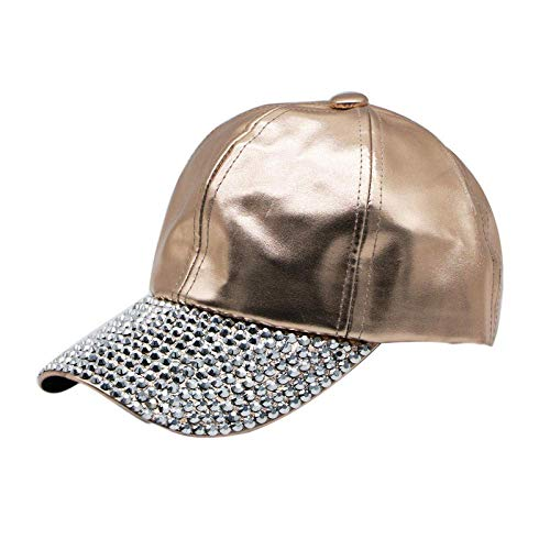 Giow Baseballmütze - Europa und Amerika Pu-Mütze Stitching Studded Hat Baseballmütze Hip Hop Hat