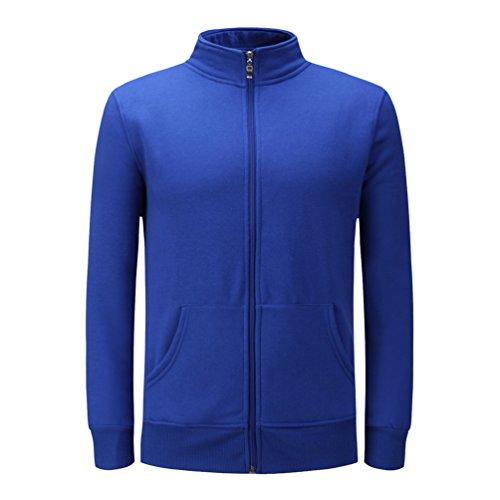 Dooxi Unisex Uomo Donna Casuale Manica Lunga Felpa Giacca Moda Sportivo Felpe con Tasche Blu