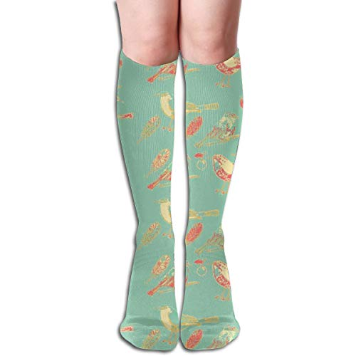 Women's Fancy Design Stocking #SAGE Beach Little Bird Told Me Multi Colorful Patterned Knee High Socks 19.6Inchs