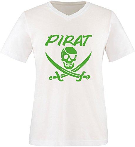 EZYshirt® Pirat Herren V-Neck T-Shirt Weiß/Grün