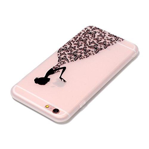 Coque iPhone 6, iPhone 6S Coque Silicone Transparent, SainCat Ultra Slim Transparent TPU Silicone Case Cover pour iPhone 6/6S, Coque Anti-Scratch Crystal Clear Soft Gel Cover Coque Fleur Transparent S Fille Papillon