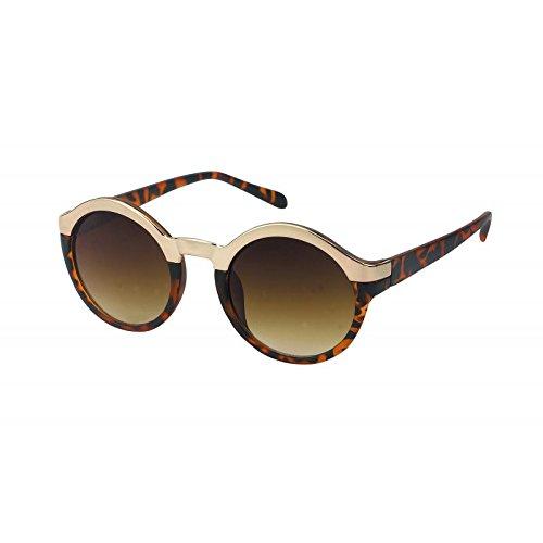 Chic-Net Sonnenbrille rund Oberkante Metall Glamour Vintage Retro 400UV John Lennon golden silbern...