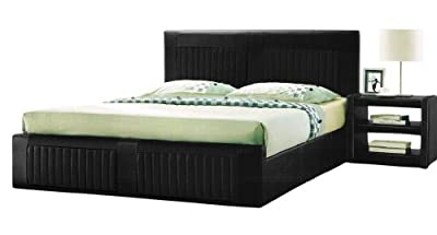 KL Prado 4FT6 Double Luxury Faux Leather Bed Stead in Black with Economy Spring Mattress - inexpensive UK light shop.