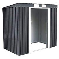 COSTWAY Cobertizo de Jardín de Metal con Base y Puerta 213x130x173cm Caseta de Herramienta Jardín Almacenamiento