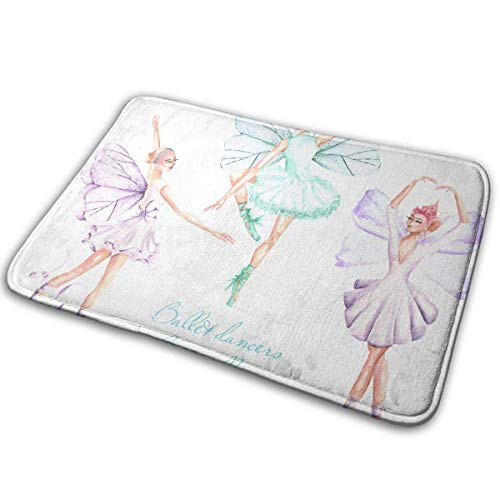 Zengyan Watercolor Ballet Dancers with Butterfly Wings Carpet, Suitable for Bathroom Carpet Doorway Carpet, 15.7