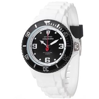 Detomaso DT3007-P – Reloj analógico de Cuarzo para Mujer con Correa de Silicona, Color Blanco